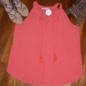 C & e sz L sleeveless tunic top w/tassels  NWT